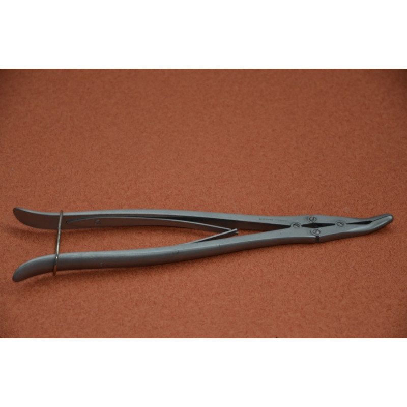PINCE GOUGE DE RUSKIN LEGEREMENT COURBE 27cm , MORS 5mm (RUSKIN GOUGE FORCEPS 27cm LIGHTLY CURVED , JAWS 5mm)