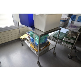 TABLE DE BLOC INOX 2 TABLETTES