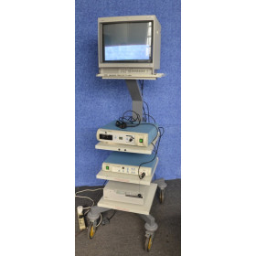 OLYMPUS/KEYMED IMAGING TROLLEY TI-1900 WITH SONY TRINITRON MONITOR, DYONICS 300XL XENON LIGHT SOURCE, SMITH AND NEPHEW 350 3-CCD CAMERA