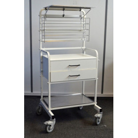 CHARIOT A MEDICAMENTS MOBILE A 2 TIROIRS ET RAMPE INOX